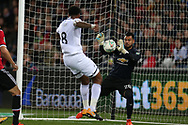 Sergio Romero, the goalkeeper of Manchester Utd makes a close range save to deny Leroy Fer of Swansea city.  EFL Carabao Cup 4th round match, Swansea city v Manchester Utd at the Liberty Stadium in Swansea, South Wales on Tuesday 24th October 2017.<br /> pic by  Andrew Orchard, Andrew Orchard sports photography.
