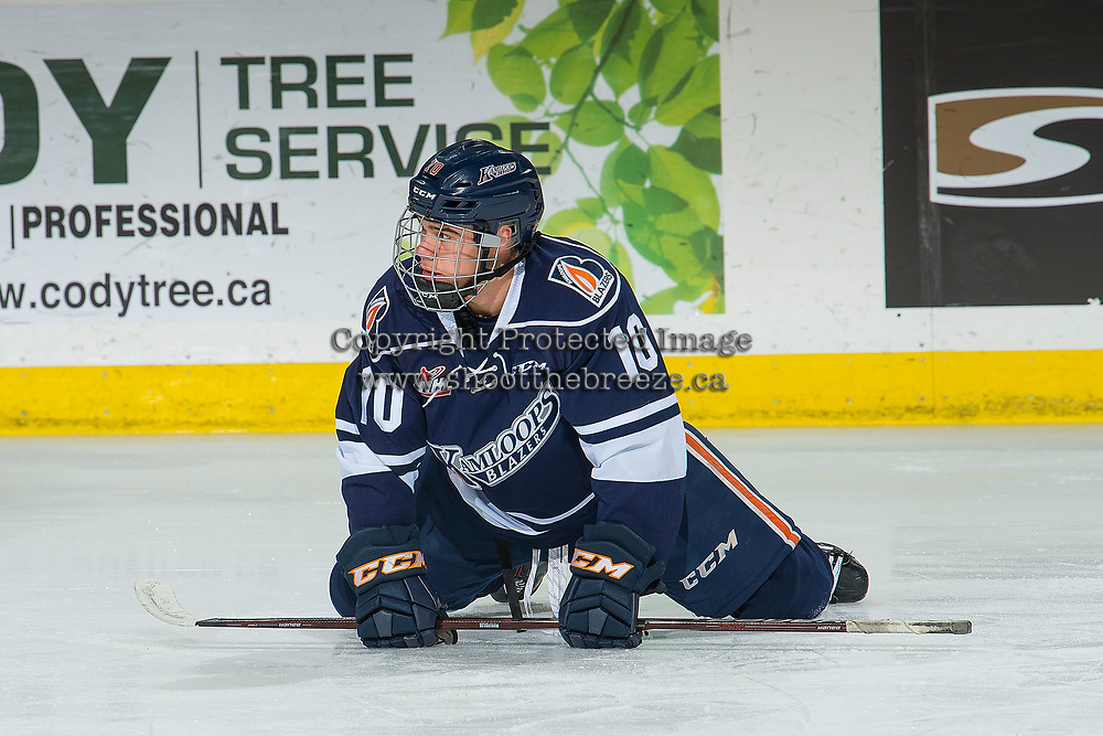 KELOWNA, BC - FEBRUARY 02: Logan Stankoven #10 of the Kamloops Blazers stretches on the ice during warm up against the Kelowna Rockets at Prospera Place on February 2, 2019 in Kelowna, Canada. (Photo by Marissa Baecker/Getty Images)