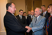 St Petersburg, Russia, 31/05/2005..Peter Dussmann, CEO of the Dussmann Group, visits Russia in connection with contracts his company have signed to upgrade and maintain the city's cleaning and related services. Meeting with St Petersburg Deputy Governor Oleg Virolainen.
