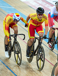 January 27, 2019 - Hong Kong, Hong Kong SAR, China - The Spanish team of Illart Zuazubiskar Gallastegi and Oscar Pelegri Ferrandis in the Mens Madison Final.UCI Track Cycling World Cup Hong Kong 2019, Qualifiers Leg VI at the Hong Kong Velodrome in Tseung Kwan O ,Kowloon (Credit Image: © Jayne Russell/ZUMA Wire)
