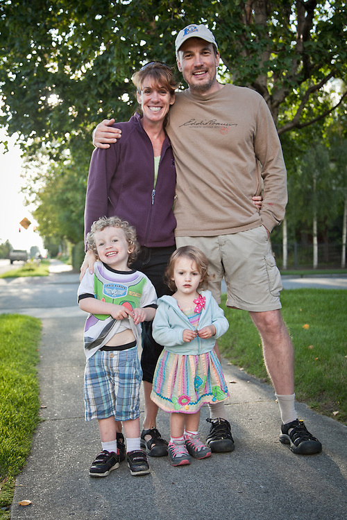 Terri and Jeff Hazlewood and their kids, Jack and Leona, South Addition, Anchorage