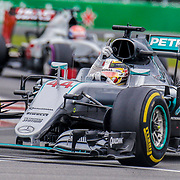 JUN 12, 2016  Montreal, CAN : AMG Petronas F1 Team # 44 Lewis Hamilton take over the lead of the race coming out of senna corner during the F1  Canadian Grand Prix at Circuit Gilles - Villeneuve Montreal, CAN  Thurman James