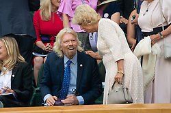 © Licensed to London News Pictures. 11/07/2018. London, UK. Sir Richard Branson and HRH The Duchess of Cornwall watches centre court tennis in the royal box at the Wimbledon Tennis Championships 2018, at the All England Lawn Tennis and Croquet Club. Photo credit: Ray Tang/LNP