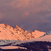The sun sets over the Sawatch Range near Eagle, Colorado in winter.