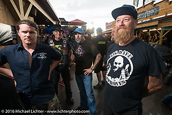 Brad Gregory and Bill Dodge at the Cycle Source Grease & Gears demo at the Iron Horse Saloon during the annual Sturgis Black Hills Motorcycle Rally.  SD, USA.  August 8, 2016.  Photography ©2016 Michael Lichter.