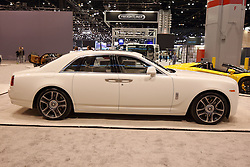 09 February 2017:  Rolls Royce Ghost Series II<br /> <br /> First staged in 1901, the Chicago Auto Show is the largest auto show in North America and has been held more times than any other auto exposition on the continent.  It has been  presented by the Chicago Automobile Trade Association (CATA) since 1935.  It is held at McCormick Place, Chicago Illinois<br /> #CAS17