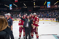 REGINA, SK - MAY 27: The Acadie-Bathurst Titan take selfies after winning against the Regina Pats at the Brandt Centre on May 27, 2018 in Regina, Canada. (Photo by Marissa Baecker/CHL Images)
