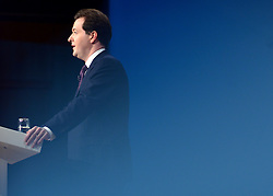© Licensed to London News Pictures. 08/10/2012. Birmingham, UK Chancellor of the Exchequer George Osborne makes his keynote conference speech at The Conservative Party Conference at the ICC today 8th October 2012. Photo credit : Stephen Simpson/LNP