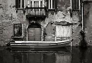 Small houses on Rio della Sensa, a canal in the Sestiere of Cannaregio in Venice, Italy