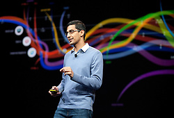 Google's SVP of Chrome Sundar Pichai, introduces new products and improvements for Chrome during the Google I/O Developer Conference in San Francisco, California.