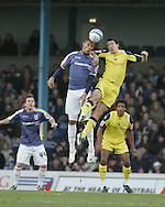 Jay Bothroyd of Cardiff city and Preston's Sean St Ledger jump for a header. Coca Cola championship, Cardiff city v Preston NE at Ninian Park on Sat 6th Dec 2008. pic by Andrew Orchard,Andrew Orchard sports photography
