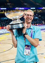 Franci Pavser, journalist of Radio Slovenija VAL 202 celebrating at Trophy ceremony after winning during the Final basketball match between National Teams  Slovenia and Serbia at Day 18 of the FIBA EuroBasket 2017 when Slovenia became European Champions 2017, at Sinan Erdem Dome in Istanbul, Turkey on September 17, 2017. Photo by Vid Ponikvar / Sportida