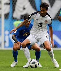 June 22, 2018 - Saint Petersburg, Russia - Fagner (L) of Brazil national team and Bryan Ruiz of Costa Rica national team vie for the ball during the 2018 FIFA World Cup Russia group E match between Brazil and Costa Rica on June 22, 2018 at Saint Petersburg Stadium in Saint Petersburg, Russia. (Credit Image: © Mike Kireev/NurPhoto via ZUMA Press)