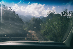 An image shot through the car window of the mountains in San Luis Planes, Santa Bárbara, Honduras.
