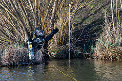 © Licensed to London News Pictures. 09/03/2021. London, UK. A Metropolitan Police Service Underwater and Confined Spaces Search Team diver in the water at Mount Pond in Clapham Common during the ongoing search for missing person Sarah Everard. Photo credit: Peter Manning/LNP