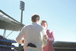 England's Joe Root shakes hands with Glenn Mcgrath in support of the Mcgrath Foundation during day two of the Ashes Test match at Sydney Cricket Ground.