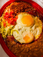 Blue Corn Enchiladas with red chile with egg, El Pinto Restaurant and Cantina, Albuquerque, New Mexico USA