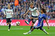 Chelsea's Nathan Ake (6) attempts to tackle Tottenham's Harry Kane. The Emirates FA Cup semi-final match, Chelsea v Tottenham Hotspur at Wembley Stadium in London on Saturday 22nd April 2017.<br /> pic by Carl Robertson,  Andrew Orchard sports photography.