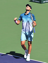 March 16, 2019 - Indian Wells, CA, U.S. - INDIAN WELLS, CA - MARCH 16: Dominic Thiem (AUT) celebrates his semifinal win in the BNP Paribas Open on March 16, 2019, at Indian Wells Tennis Garden in Indian Wells, CA. (Photo by Cynthia Lum/Icon Sportswire) (Credit Image: © Cynthia Lum/Icon SMI via ZUMA Press)