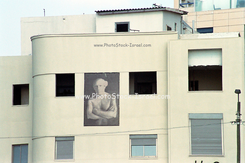 Israel, Tel Aviv, A building decorated with a black and white picture of David Ben Gurion Israel's first prime minister