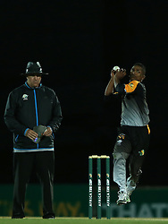 Ferisco Adams of Boland sends down a delivery during the Africa T20 cup pool D match between Boland and Eastern Province held at the Boland Park cricket ground in Paarl on the 24th September 2016.<br /> <br /> Photo by: Shaun Roy/ RealTime Images