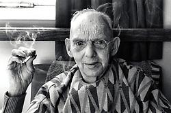 Portrait of an elderly man smoking, Nottingham, UK 1991