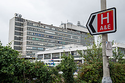 © Licensed to London News Pictures. 08/07/2020. London, UK. An A&E sign points to Hillingdon Hospital. Hillingdon Hospital, a major hospital in west London, has closed to emergency ambulances and emergency admissions after a number of staff tested positive for the COVID-19 coronavirus, in total 70 staff members are now isolating. Photo credit: Peter Manning/LNP