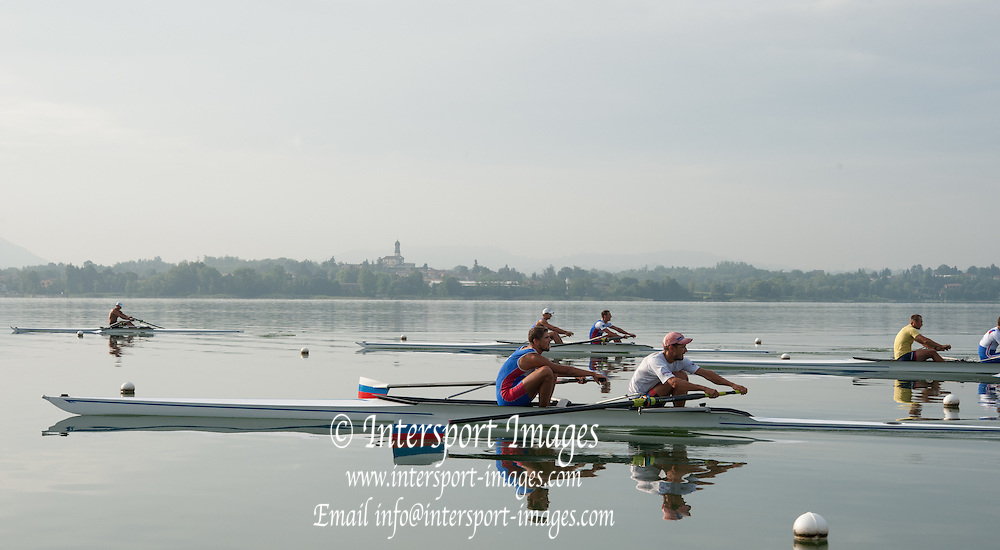 Erba, ITALY  Russian Rowing Team Training at their Italian Base in Erba at  Lake Pusiano.  07:08:42  Tuesday  22/07/2014  [Mandatory Credit; Peter Spurrier/Intersport-images]