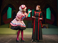 """Charles Baran as Sarah the Cook with Ursula Minich Boutwell as Queen Belladonna during dress rehearsal for Winnipesaukee Playhouse's traditional english panto """"Snow White"""" on Tuesday afternoon.  (Karen Bobotas/for the Laconia Daily Sun)"""
