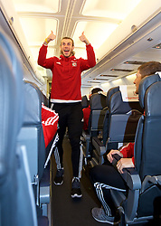 ZENICA, BOSNIA & HERZEGOVINA - Sunday, October 11, 2015: Wales' Gareth Bale on the team's return flight to Cardiff after qualifying for the UEFA Euro 2016 finals despite a 2-0 defeat to Bosnia and Herzegovina during the UEFA Euro 2016 qualifying match. (Pic by David Rawcliffe/Propaganda)
