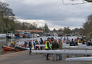 Molesey, Surrey. Competitors, coach's and  volunteers, congregate on the concourse in front of the Molesey Boathouse, before the Molesey Veterans Head. Saturday  21/02/2015  [Mandatory Credit; Peter Spurrier/Intersport-images]