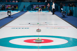 February 9, 2018 - Pyeongchang, SOUTH KOREA - 180209 Rocks placed out on the curling sheet for the mixed doubles curling match between South Korea and Norway during the 2018 Winter Olympics on February 9, 2018 in Pyeongchang..Photo: Joel Marklund / BILDBYRN / kod JM / 87609 (Credit Image: © Joel Marklund/Bildbyran via ZUMA Press)