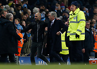 Football - 2019 / 2020 Premier League - Manchester City vs. Everton<br /> <br /> Manchester City coach Pep Guardiola consoles Everton manager Carlo Ancekotti at the end of the game, at The Etihad Stadium.<br /> <br /> COLORSPORT/ALAN MARTIN