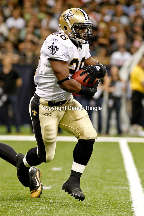 August 12, 2011; New Orleans, LA, USA; New Orleans Saints running back Mark Ingram (28) during the first half of a preseason game against the San Francisco 49ers at the Louisiana Superdome. Mandatory Credit: Derick E. Hingle