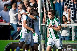 (L-R) Mimoun Mahi of FC Groningen, Ritsu Doan of FC Groningen 1-1 during the Dutch Eredivisie match between FC Groningen and AZ Alkmaar at Noordlease stadium on October 15, 2017 in Groningen, The Netherlands