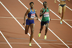 USA's Phyllis Francis and Zambia's Kabange Mupopo in the semi-finals of the 400 meters women during the IAAF World Athletics 2017 Championships In Olympic Stadium, Queen Elisabeth Park, London, UK, on August 7th, 2017 Photo by Henri Szwarc/ABACAPRESS.COM