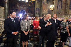 June 16, 2017 - Sofia, Bulgaria - The grateful prayer for the 80th birthday of HH Tsar Simeon II (Simeon Saxe-Coburg-Gotha) was personally headed by the Bulgarian patriarch Neofit at Sofia, Bulgaria on 16th of June. After the guests were the Spanish Queen Sofia and other royal citizens from Europe - Princess Margarita and Prince Radu from Romania, Prince Alexander and Princess Katarina from Serbia, Prince Nikola from Montenegro, Prince Leka from Albania with his wife - Princess Eliya, Osman Salahhadin Osmanoglu, Prince Tusun from Egypt.....For the birthday of HH Tsar Simeon II, almost all of the royal family - Knyaz (Prince) Cyril, Prince Constantine-Assen and his wife Maria Garcia de la Rasilia and Gortasa, Knyaz Kubrat and his wife Carla Maria Royo-Vilianova, Knyaginya (Princess) Kalina And her husband Kitin Munoz, as well as nine of the grandchildren of HM Tsar Simeon II  (Credit Image: © Plamen Trifonov/NurPhoto via ZUMA Press)