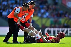 Peter Browne (London Welsh) receives treatment for cramp - Photo mandatory by-line: Patrick Khachfe/JMP - Mobile: 07966 386802 06/09/2014 - SPORT - RUGBY UNION - Oxford - Kassam Stadium - London Welsh v Exeter Chiefs - Aviva Premiership