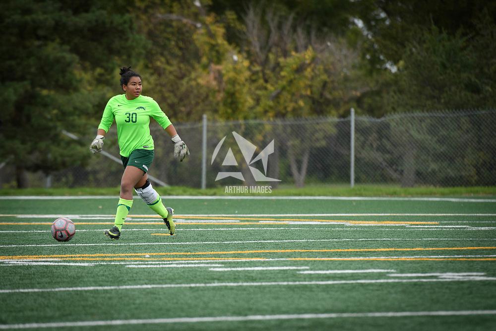 3rd year goalkeeper Savannah Williams (30) of the Regina Cougarsduring the Women's Soccer Homeopener on September 16 at U of R Field. Credit: Arthur Ward/Arthur Images