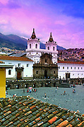 The twin bell towers of the 16th century Monastery of San Francisco rise above the cobblestoned Plaza San Francisco.  The monastery is Ecuador's oldest church, and  a UNESCO World Heritage Cultural Site.