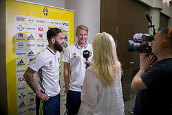 August 28, 2017 - Sofia, BULGARIEN - 170828 Swedish player Jimmy Durmaz (l) and Ola Toivonen meet media at a Mixed Zone arranged by The Swedish Football Association 28 August 2017 in Sofia, Bulgaria. Sweden is preparing for the upcoming World Cup qualifying game between Bulgaria and Sweden on 31 August  (Credit Image: © Nikolay Doychinov/Bildbyran via ZUMA Wire)