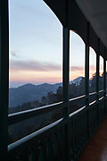 Sunset on balcony of Oberoi Cecil Hotel in Shimla, India