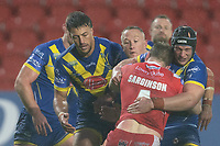 Rugby League - 2020 Coral Challenge Cup - Salford Red Devils vs Warrington Wolves - TW Stadium, St Helen's<br /> <br /> Salford Red Devils's Dan Sarginson is tackled <br /> <br /> COLORSPORT/TERRY DONNELLY