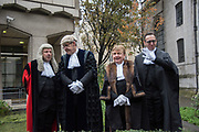 NICHOLAS HILLIARD, JOHN BARRADELL RECORDER, TOWN CLERK, DR. PETER KANE, CHAMBERLAIN, COMPTROLLER, Lord Mayor's show London. 11 November 2017.