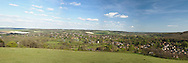 View over the River Thames and Thames Valley above Goring and Streatley in Oxfordshire, Uk
