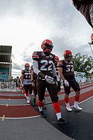 KELOWNA, BC - AUGUST 17:  Lawrenzo DISSEE #22 and Brody Mcpherson #37 of Okanagan Sun walk to the field against the Westshore Rebels at the Apple Bowl on August 17, 2019 in Kelowna, Canada. (Photo by Marissa Baecker/Shoot the Breeze)