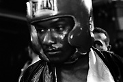 A boxer is on his way to the ring to fight in the quarterfinals of the 2005 Daily News Golden Gloves at Saint Paul the Apostle (Manhattan) on March 11th.