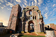 The Anglo Saxon Romanesque Lindisfarne Abbey ruins,  Holy Island, Lindisfarne, Northumbria, England .<br /> <br /> Visit our MEDIEVAL PHOTO COLLECTIONS for more   photos  to download or buy as prints https://funkystock.photoshelter.com/gallery-collection/Medieval-Middle-Ages-Historic-Places-Arcaeological-Sites-Pictures-Images-of/C0000B5ZA54_WD0s
