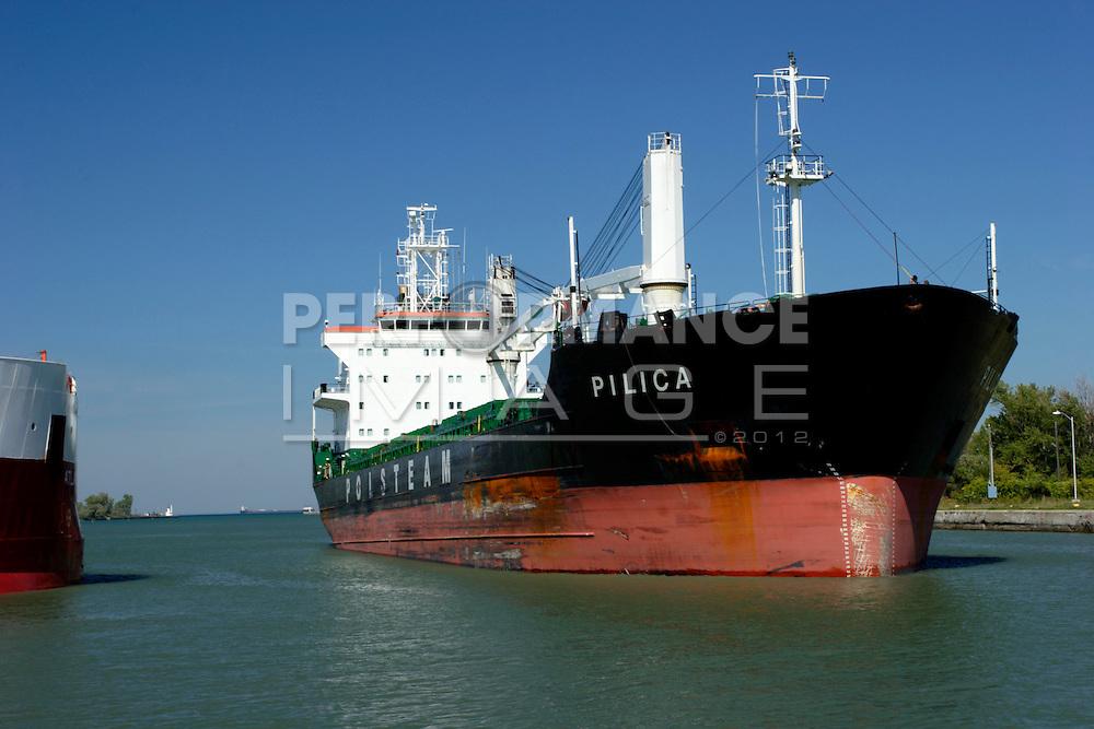 Ship entering Welland Canal Thorold, Ontario Canada