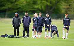Falkirk's manager Peter Houston watching the game. Falkirk FC training for the Cup Final at Burnley's training ground.